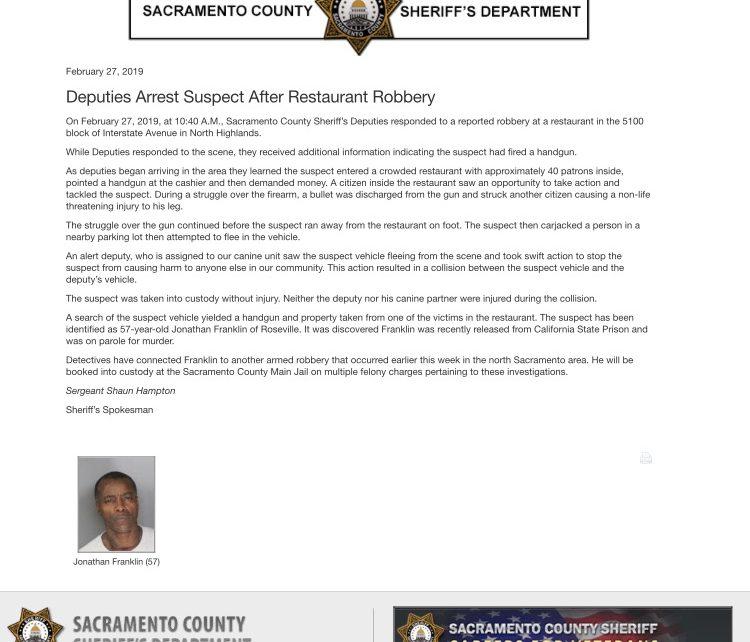 California Murder Parolee Robs Sacramento Restaurant, Patron